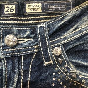 Miss Me Shorts - Miss Me Frayed Distressed Bling Shorts Size 26